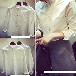 氣質淑女 - 皺摺領燈芯絨襯衫