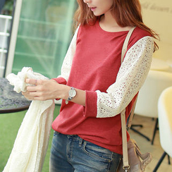 CLICK - Laced 3/4-Sleeve Top