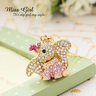 Miss Girl - Rhinestone Elephant Necklace