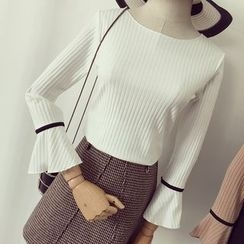 Honeydew - 喇叭袖口罗纹针织上衣