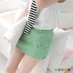 OrangeBear - Inset Shorts Pocket Mini Skirt