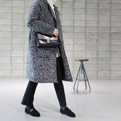 STYLEBYYAM - Wool Blend Open-Front Mélange Long Coat