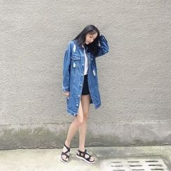 Eva Fashion - Distressed Long Denim Jacket