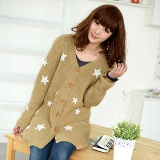 59 Seconds - Star Print Long Cardigan
