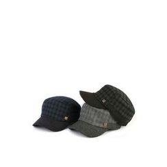 Ohkkage - Wool Blend Check-Pattern Military Cap