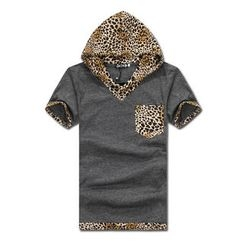 MR.PARK - Leopard Print-Panel Hooded Top