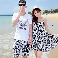 Tabula Rasa - Couple Matching Printed T-shirt + Shorts / Strap Dress