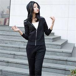 Sakura Rain - 套装: 连帽拉链夹克 + 抽绳长裤