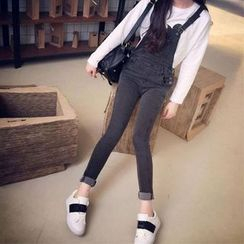 Clair Fashion - 韩版单宁黑色修身高腰牛仔背带裤