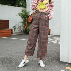 SUYISODA - Check Wide Leg Pants