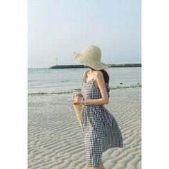 ATTYSTORY - Tie-Back Sleeveless Gingham Dress