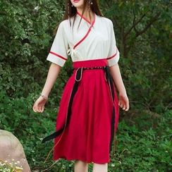 Diosa - Set : Short-Sleeve Piped Chinese Top + Skirt