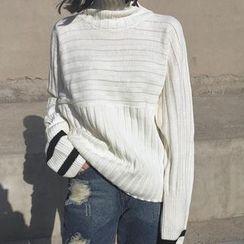Clair Fashion - 韩版复古高领休閒撞色针织衫