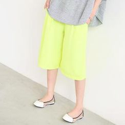 SO Central - Elastic-Waist Cropped Wide-Leg Pants
