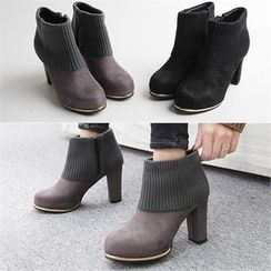 Reneve - Knit-Panel High-Heel Ankle Boots