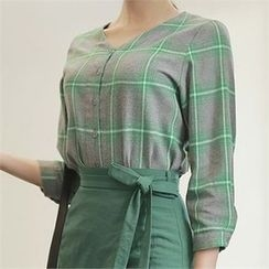 CHICLINE - Check-Patterned Blouse
