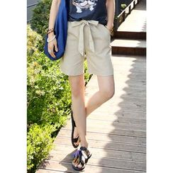 REDOPIN - Linen Blend Bow-Front Shorts