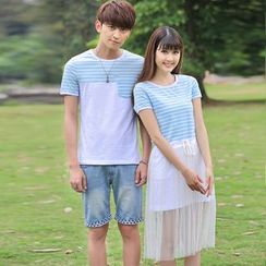 Igsoo - Couple Matching Stripe Panel Short-Sleeve T-shirt / Short-Sleeve Tulle Dress