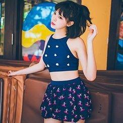 Sewwi - 套裝: 花朵裝飾坦基尼泳裝 + 印花泳裙
