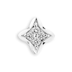 MBLife.com - 18K White Gold Diamond Accents Quatrefoil Cross Single Stud Earring (0.08cttw), Women Jewelry Gift