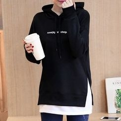 Dadada - Maternity Mock Two Piece Letter Embroidered Hoodie