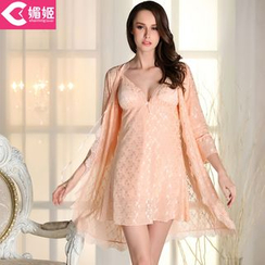 Charming Lover - Set: Lace Robe + Nightdress