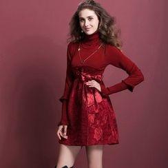 歐依潮派 - 羊毛混紡長袖高領拼接連衣裙