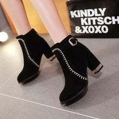 Pangmama - Chunky-Heel Buckled Ankle Boots