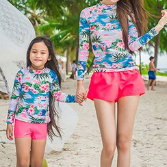 Roseate - Family Matching Set: Printed Rashguard  + Swim Bottom