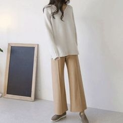 Hello sweety - Seam-Front Wool Blend Pants