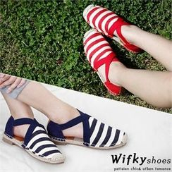 Wifky - Cross-Strap Striped Slip-Ons