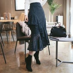 DABAGIRL - Layered A-Line Lace Skirt