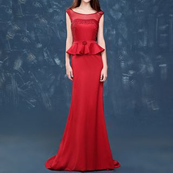 LYRA - Sleeveless Peplum Sheath Evening Gown