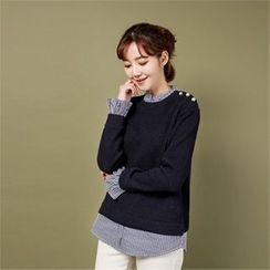 Styleberry - Inset Rib-Knit Sweater Stripe Shirt