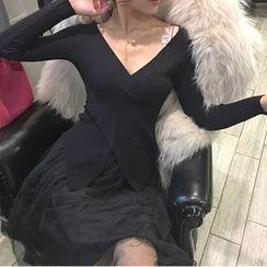 Jolly Club - Set: Asymmetric-Hem Knit Top + A-Line Skirt