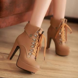 77Queen - Lace-Up Heeled Platform Ankle Boots