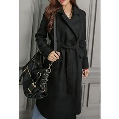 REDOPIN - Open-Front Wool Blend Coat With Sash