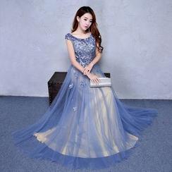 ZAKSKI - Cap Sleeve A-Line Evening Gown