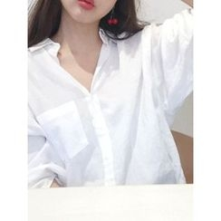 maybe-baby - Pocket-Detail Linen Blend Shirt