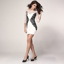 Dear Lover - Long-Sleeve Sheer Panel Sheath Dress
