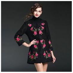 Elabo - Flower Embroidered Long Jacket