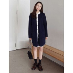 maybe-baby - Contrast-Trim Knit Shirtdress