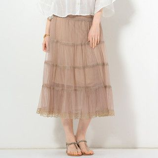 YesStyle Z - Lace Trim Tulle Maxi Skirt