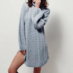 Chicsense - Turtleneck Cable-Knit Long Sweater