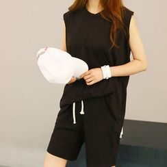 NANING9 - Set: Cotton Sleeveless Top + Shorts