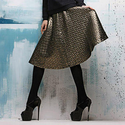 I-DOU - Quilted Lamé Midi Skirt