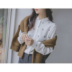 JUSTONE - Peter Pan-Collar Patterned Shirt