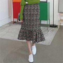 CHICFOX - Floral-Pattern Ruffle-Hem Skirt