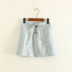Mushi - Lace Up Mini A-Line Skirt