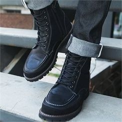 MITOSHOP - Stitched Lace-Up Short Boots